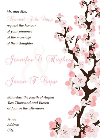 cherry blossom wedding invitations, Wedding invitations