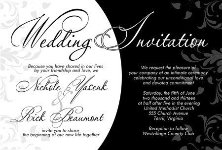 Elegant Black And White Formal Wedding Invitations