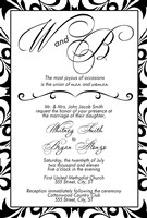 Black and White Monogramed Wedding Invitations