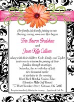 Damask Gerber Daisy Wedding Invitations