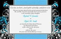Turquoise Floral Swirl Black Wedding Invitations