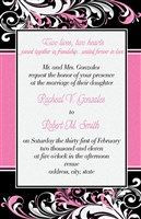 Pink Floral Swirl Black Wedding Invitations