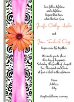 Hot Pink & Orange Gerber Daisy Damask Wedding Invitations