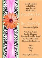 Pink & Peach Gerber Daisy Damask Wedding Invitations