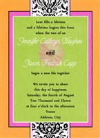 Pink, Orange, Lime Green Gerber Daisy Damask Wedding Invitations