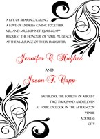 Black White Swirl Ivy Wedding Invitations