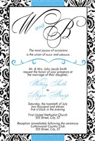 Turquoise Black Monogram Wedding Invitations