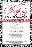 Red White Black Monogram Wedding Invitations
