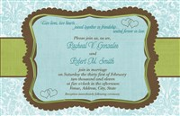 Blue & Green Heart Wedding Invitations