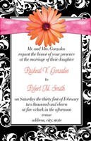 Black and White Damask Formal Wedding Invitations