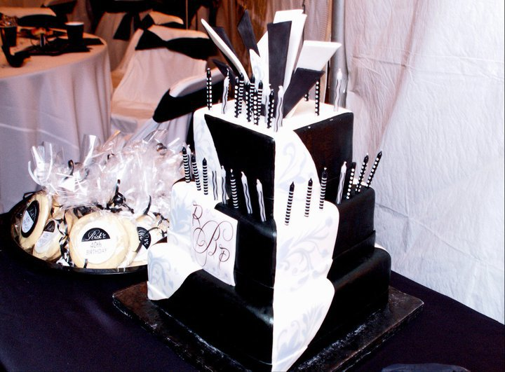 Black White Mens 40th Birthday Party