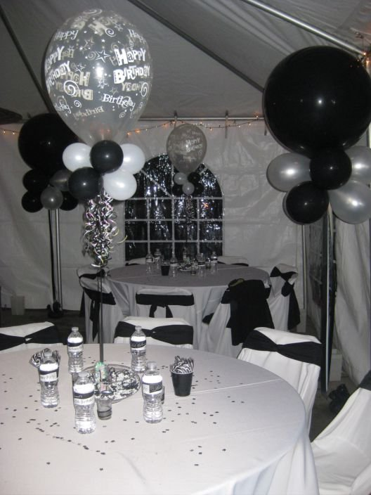 Black and white men 39 s 40th birthday party for 75th birthday party decoration ideas