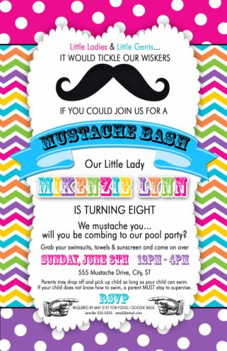 Bright Rainbow Birthday Party Invitations