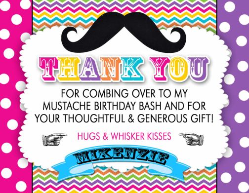 Mustache Bash Bright Rainbow Thank You Cards Or Invitations