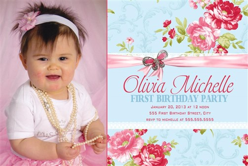 Shabby chic birthday party invitations with photo filmwisefo