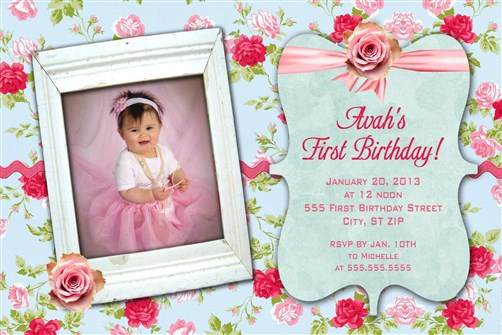 Shabby chic first birthday party invitations filmwisefo