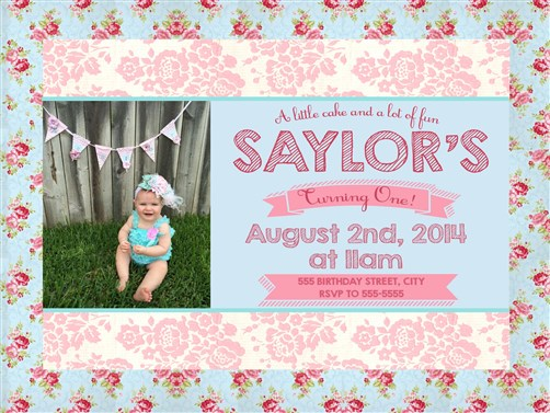 Floral Shabby Chic 1st Birthday Party Invitations