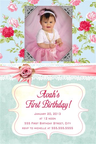 Shabby chic vertical birthday invitations any age filmwisefo
