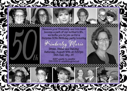 Purple Damask 50th Birthday Invitation – Damask Birthday Invitations