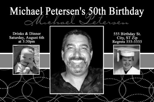 Mens Black And White 50th Birthday Invitation