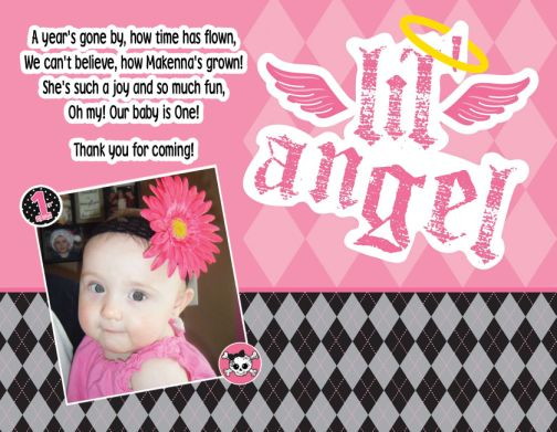 Lil Angel Thank You Card or 1st Birthday Invitations – First Birthday Thank You Cards
