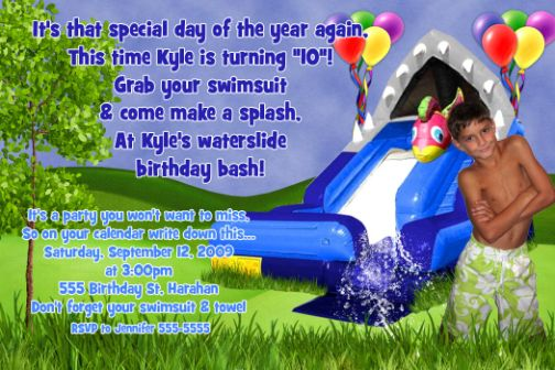 Waterslide Birthday Invitation