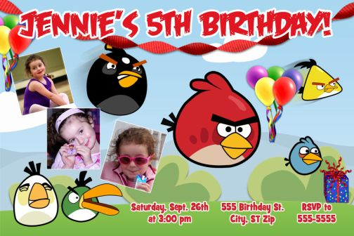 Angry Birds 3photo Birthday Party Invitations or Thank You Card – Angry Birds Party Invitations