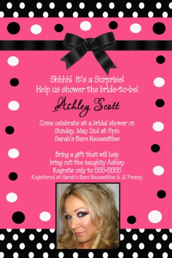 Hot Pink Black White Polka Dot Bridal Shower Invitation - Black and white bridal shower invitation templates