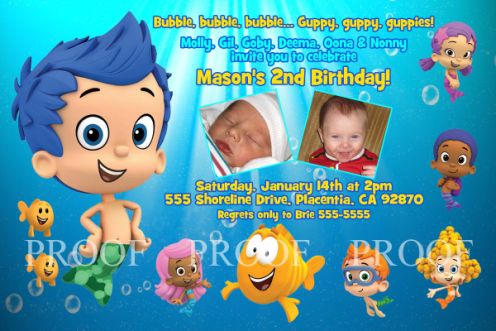 Bubble Guppies Boy Birthday Invitations