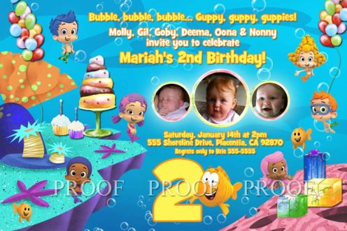Bubble 03 Guppies Birthday Party Invitations
