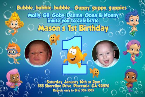 BUBBLE 06 Boys Bubble Guppies 1st 2nd 3rd Birthday Invitations