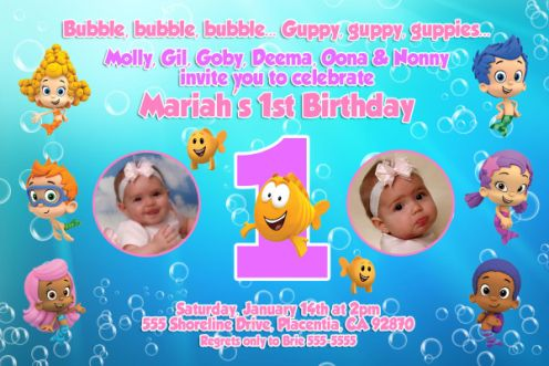 girls bubble guppies 1st, 2nd, 3rd birthday invitations, Birthday invitations