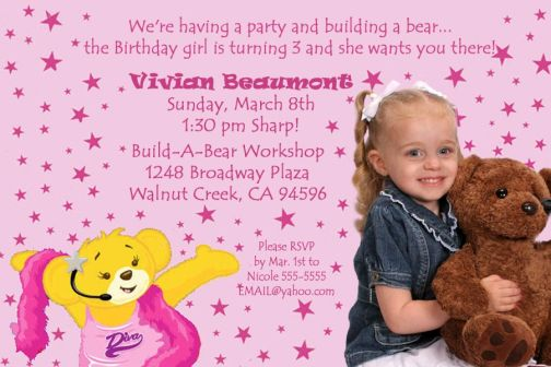 BuildABear Build a Bear Workshop Birthday Invitation – Build a Bear Invitations Birthday