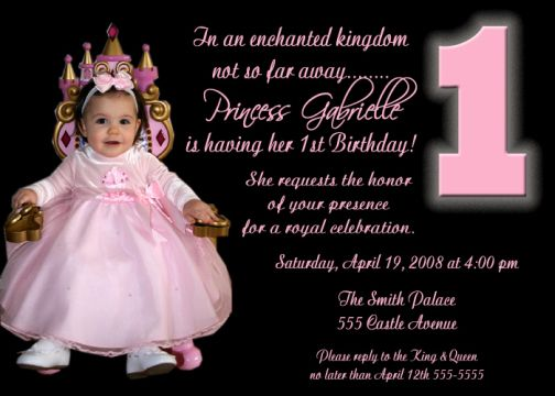 Black Pink Princess First Birthday Invitation