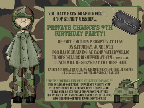 camouflage boy birthday invitation, Birthday invitations