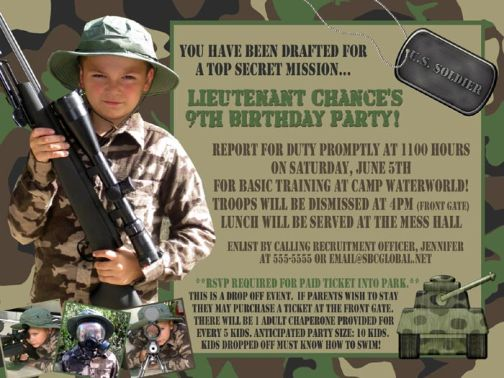 camouflage tanker 4-photo birthday invitation, Birthday invitations