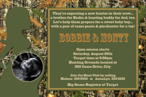 Realtree Camouflage Baby Shower Invitations Hunter