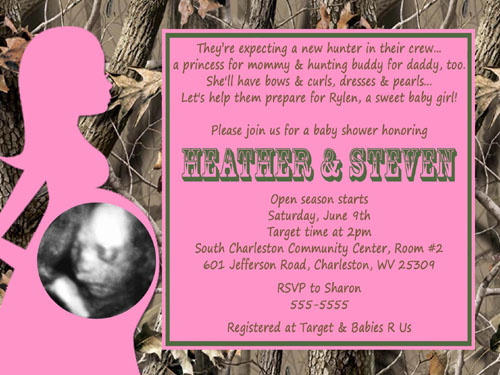 Realtree camo hot pink baby shower invitations filmwisefo