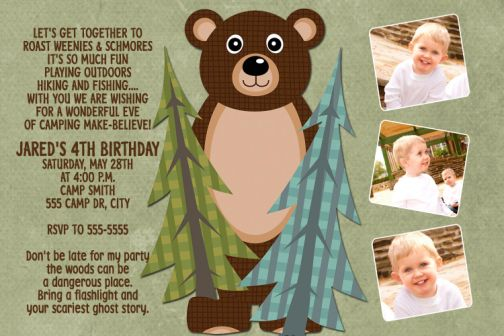 Lets Go Camping Black Bear Birthday Invitations – Camping Birthday Invitations
