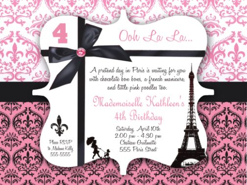 Damask Paris Birthday Invitation With No Photo