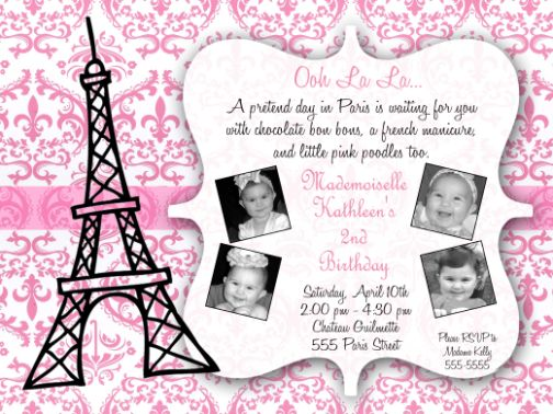 Paris Damask Birthday Party Invitations – Damask Birthday Invitations