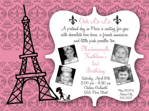 Paris Damask Birthday Invitations – Damask Birthday Invitations
