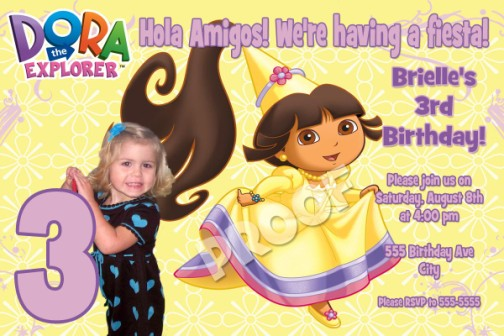 princess dora birthday invitations, Birthday invitations