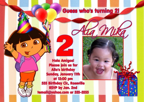 Dora Fiesta Birthday Party Invitation Card