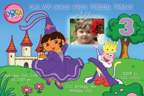 Dora diego combo birthday invitation princess dora birthday invitation filmwisefo