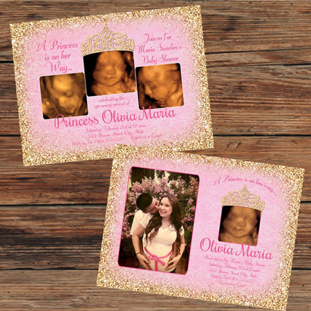 Pink gold princess baby shower invitations filmwisefo