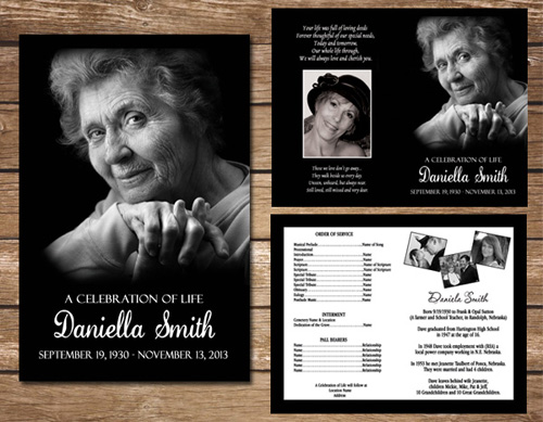 Black And White Funeral Program Memorial Order Of Service