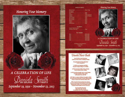Red Rose Funeral Program | Memorial Service | Celebration Of Life