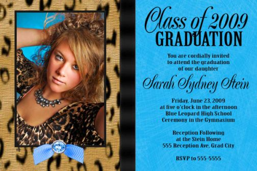 turquoise leopard high school graduation invitation card. homeschool ...