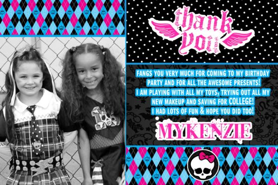 Monster High Thank You Card – Monster High Birthday Card